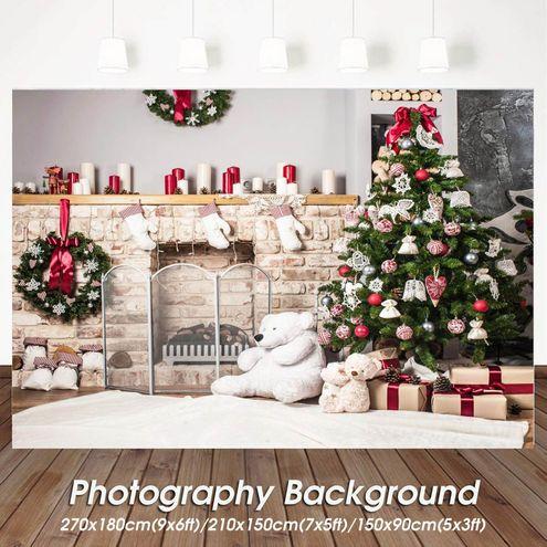 5x3//7x5ft Christmas Fireplace Tree Photography Backdrops Studio Photo Background