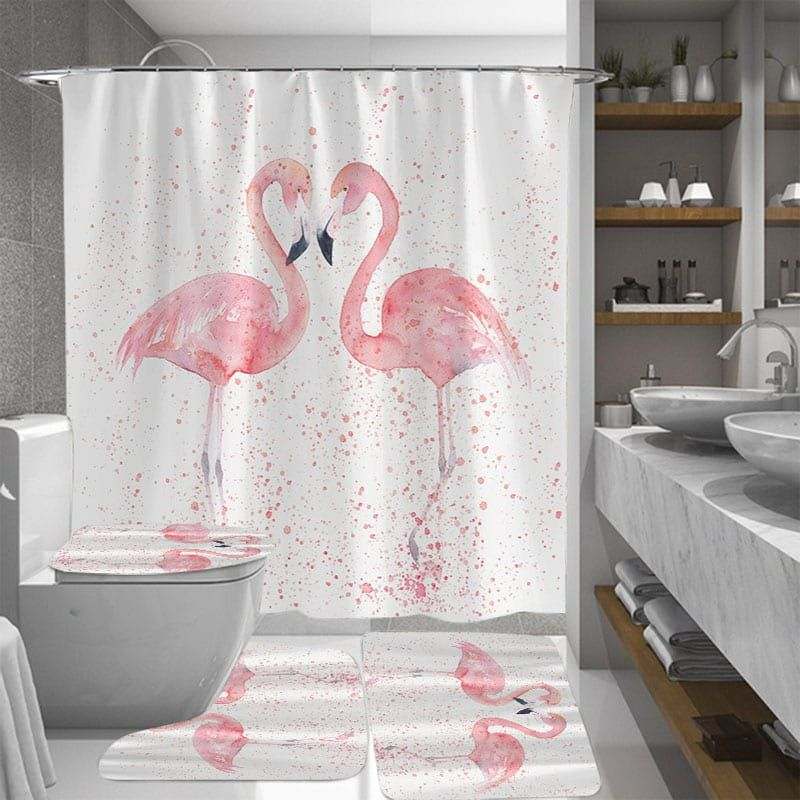 Uplifting Feel Good Bathroom Decor Pink Flamingo Shower and Bath Curtain Set