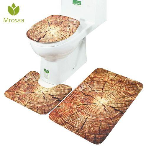 2Pcs Creative Paris Eiffel Tower Bathroom Toilet Pedestal Rug+Bath Non-Slip Pad